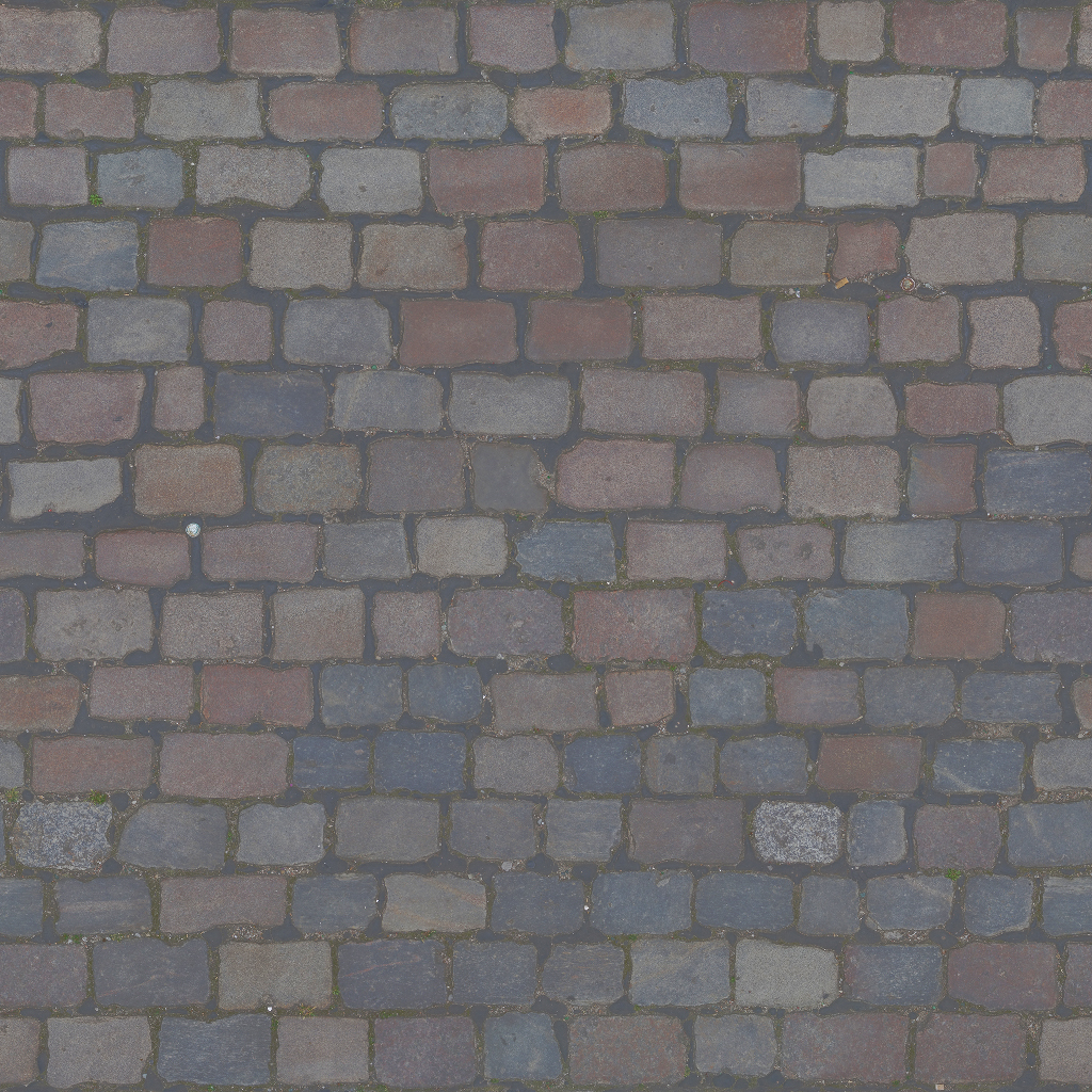 3D Scanned Seamless Cobblestone Pavement Albeo Map