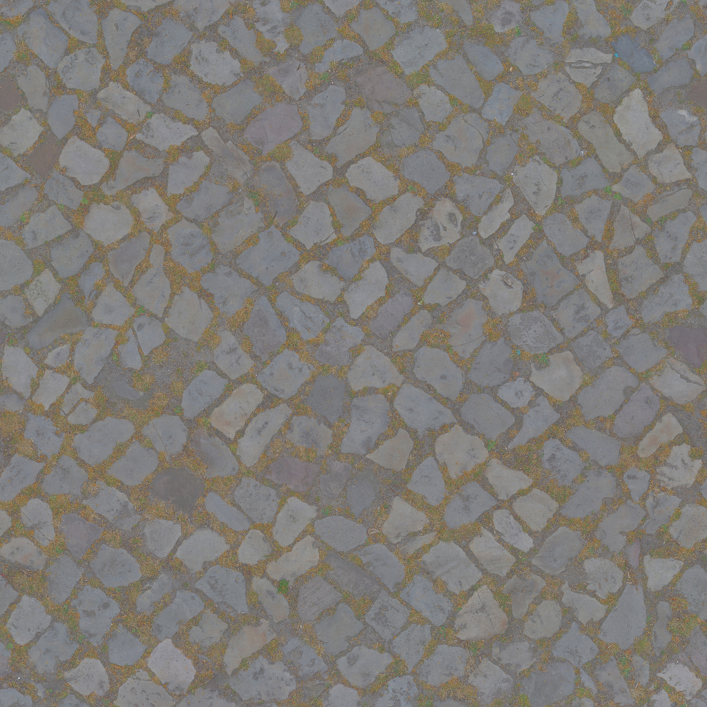 3D Scanned Seamless Cobblestone Pavement Albedo Map
